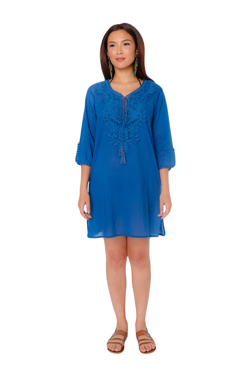9121ff514 Rosenda Navy Blue Kaftan Swimsuit Cover Up - Where Two Find Me ...